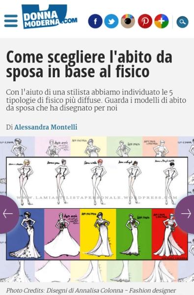 Illustrazioni di Annalisa Colonna su Donna Moderna-Abiti da sposa in base al fisico